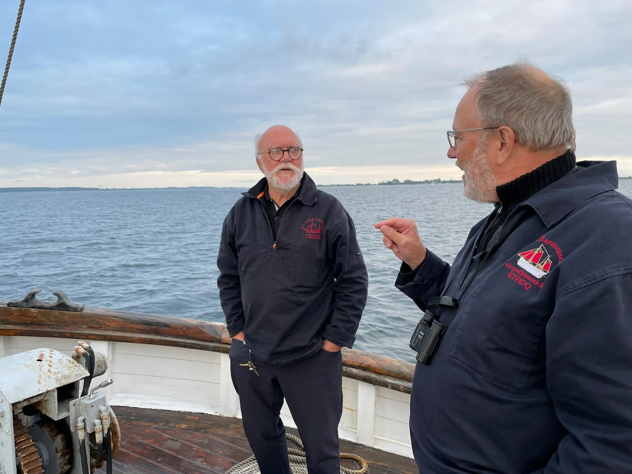 Skipper Knud Erik Møller og Vennernes formand, Aksel Bjørke. Juni 2021