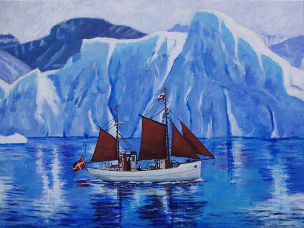 KIVIOQ sejler under isbjerge ved Grønland. Oliemaleri af Tina Rosenberg