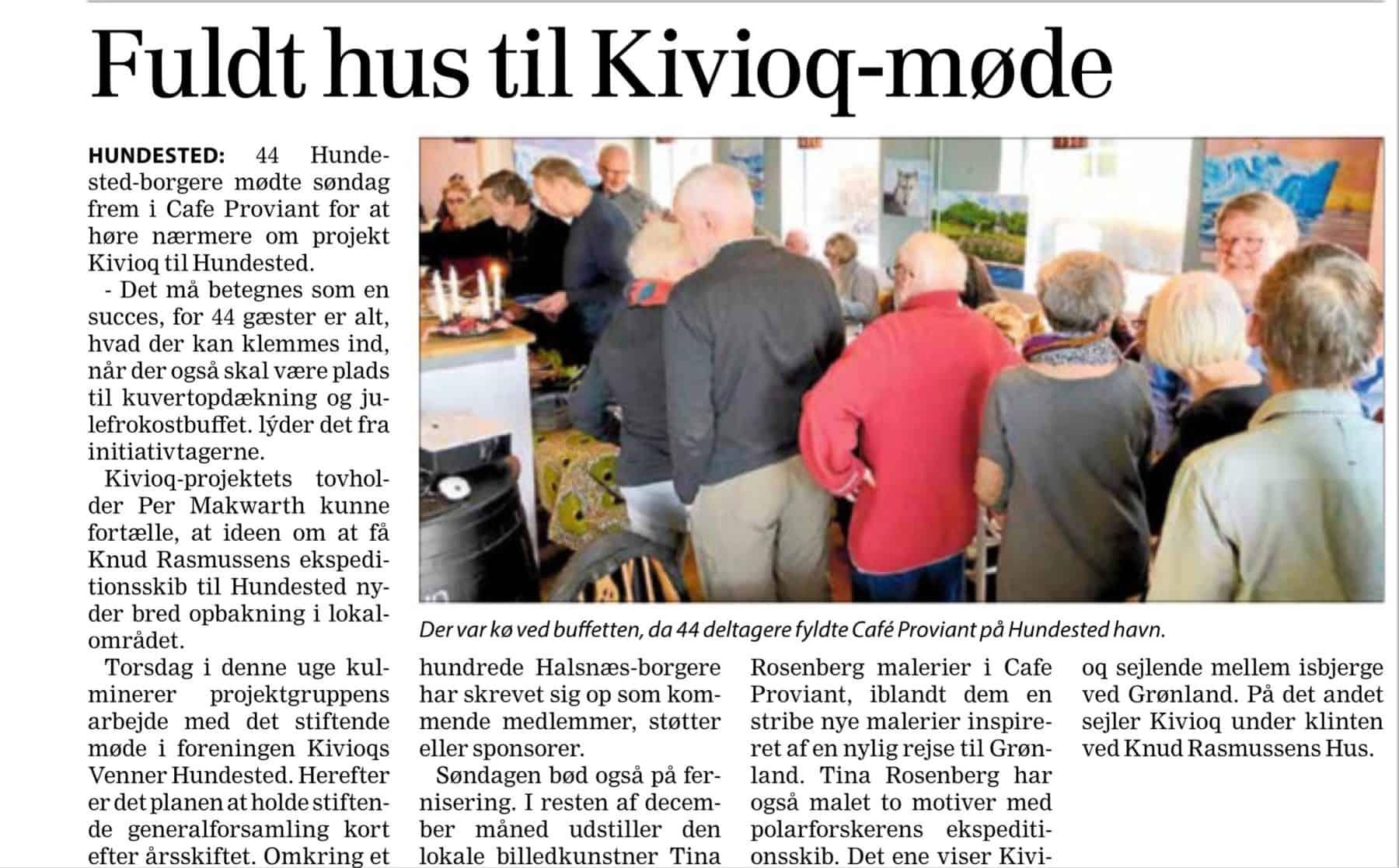 Frederiksborg Amts Avis 6. december 2017: Fuldt hus til Kivioq-møde