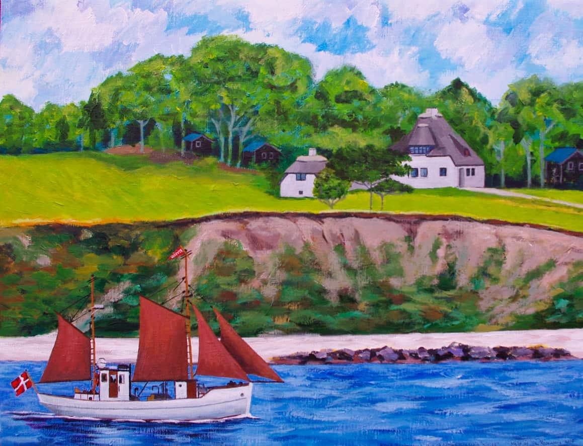 Kivioq sejler under klinten ved Knud Rasmussens Hus. Maleri af Tina Rosenberg